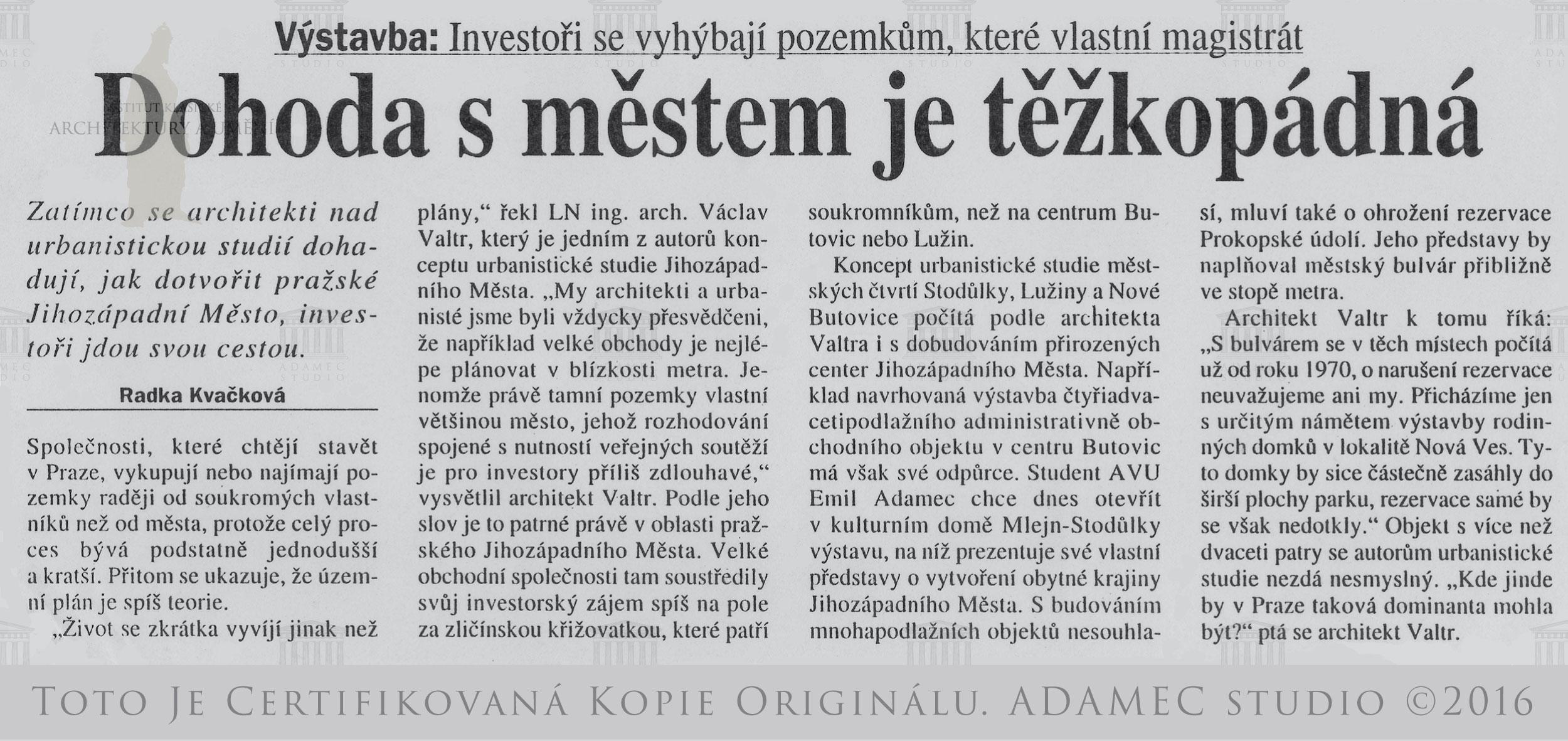 1995 Dohoda s městem je tězkopádná - Radka Kvačková - ČR